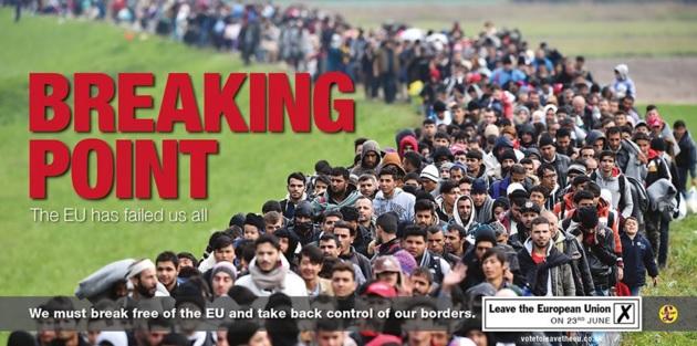 Das umstrittene Poster der Vote Leave Kampagne mit Asylsuchenden, die über den Balkan fliehen.