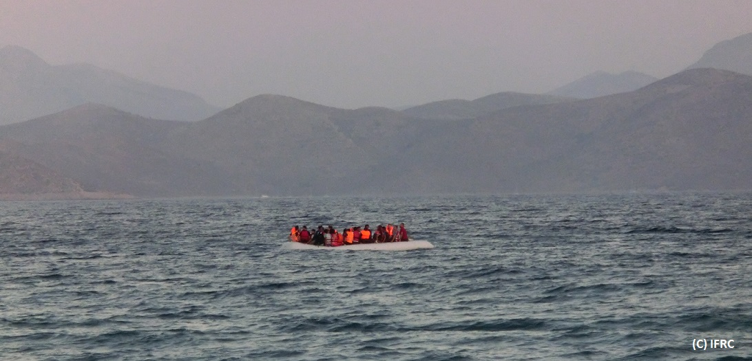 A rubber boat carrying around 50 migrants and refugees  arrives from Bodrum in Turkey to the Greek island of Kos in the early hours of the morning. Human traffickers charge USD/EUR 1,000-1,300 per person for a trip on a small/medium rubber boat. Assistance to migrants across the islands of arrival is available locally since June according to the available human, material, financial resources, and it has recently intensified in Lesbos, Kos and Samos under IFRC DREF support.National Red Cross Societies are providing vital humanitarian assistance to thousands of people on the move along the Western Balkans migratory trail which links Greece, the Former Yugoslav Republic (FYR) of Macedonia, Serbia, Hungary, and beyond.